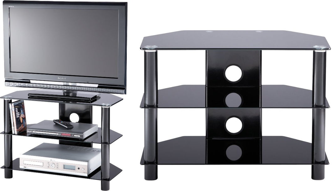 D-shaped curved design 3 Toughened glass shelf TV Stand