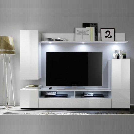 Sicily TV Stand Wall Mount In White High Gloss