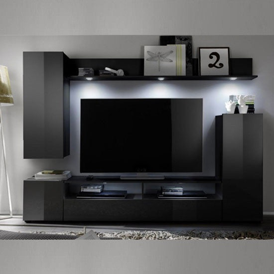 Sicily Wall Mounted TV Unit In Black High Gloss Fronts
