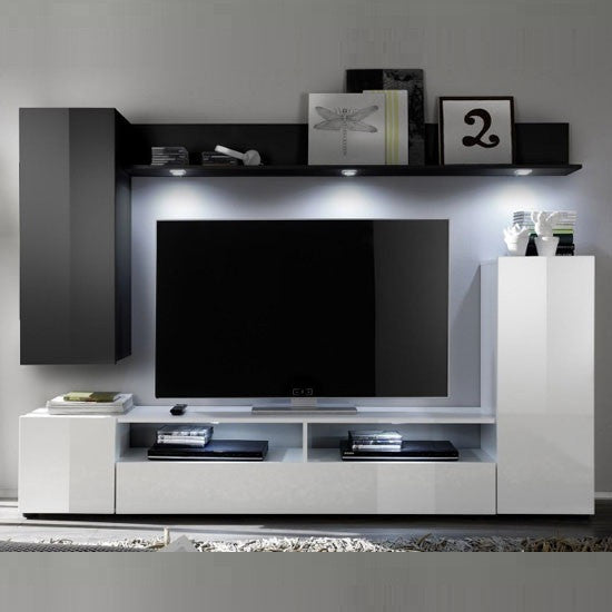 Sicily wall mounted tv unit in white black high gloss - How high to mount tv in living room ...