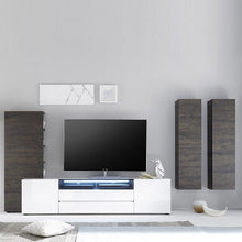 Diego Wide White Gloss TV Stand with LED Lighting Set 2