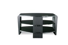 Dual Toughened Glass Shelf TV Stand Black 2