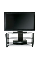 Dual Toughened Glass Shelf TV Stand Black 3