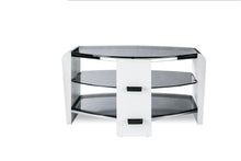 Dual Toughened Glass Shelf TV Stand White Smoked 1