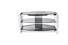 Dual Toughened Glass Shelf TV Stand White Smoked 2