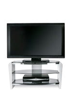 Dual Toughened Glass Shelf TV Stand White Smoked 3