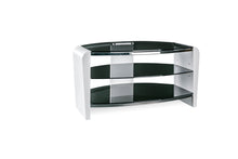 Dual Toughened Glass Shelf TV Stand White Smoked