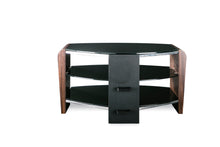 Dual Toughened Glass Shelf TV Stand Walnut 1