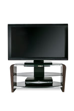 Dual Toughened Glass Shelf TV Stand Walnut 2