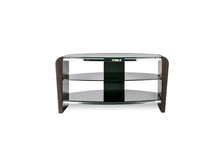 Dual Toughened Glass Shelf TV Stand Walnut 4