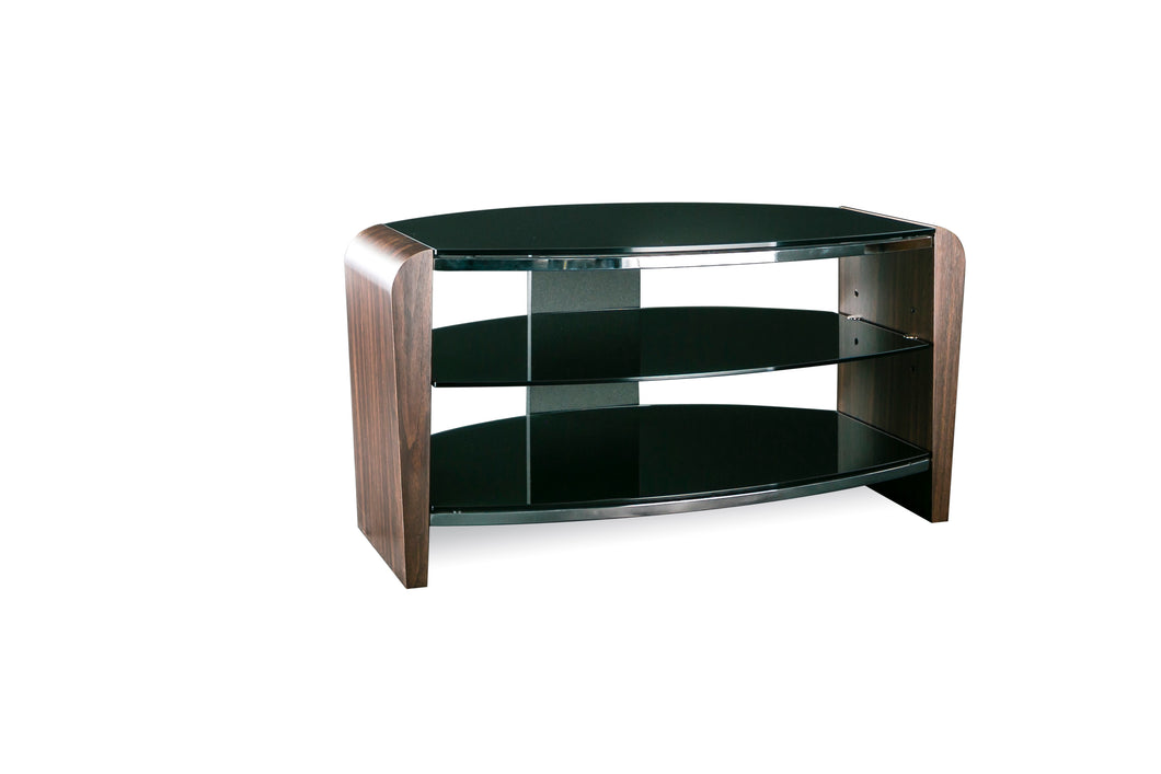 Dual Toughened Glass Shelf TV Stand Walnut