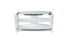 Dual Toughened Glass Shelf TV Stand White Smoked White -1