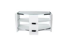 Dual Toughened Glass Shelf TV Stand White Smoked White-2