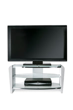 Dual Toughened Glass Shelf TV Stand White Smoked White -3