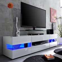 Venice White TV Stand with High-Gloss Fronts & LED Lighting 1