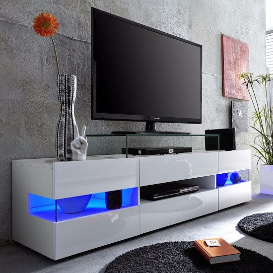 Venice White Tv Stand With Gloss Fronts And Led Lights Tvcabinets