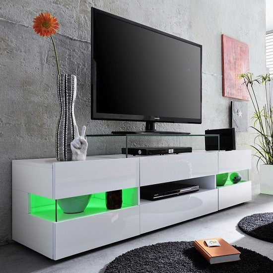 Venice White Tv Stand With Gloss Fronts And Led Lights