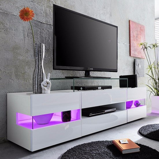 the latest 739b7 f1292 Venice White TV Stand with High-Gloss Fronts & LED Lighting