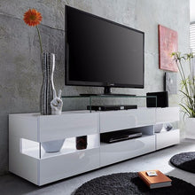 Venice White TV Stand with High-Gloss Fronts & LED Lighting 5