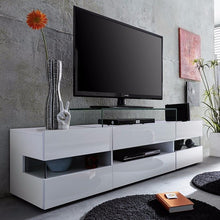 Venice White TV Stand with High-Gloss Fronts & LED Lighting 4