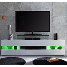 Venice White TV Stand with High-Gloss Fronts & LED Lighting 7