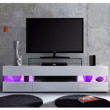 Venice White TV Stand with High-Gloss Fronts & LED Lighting 6