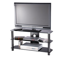 Large D-shaped curved design 3 Toughened glass shelf TV Stand-2