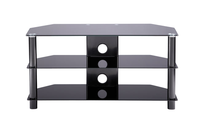 Large D-shaped curved design 3 Toughened glass shelf TV Stand