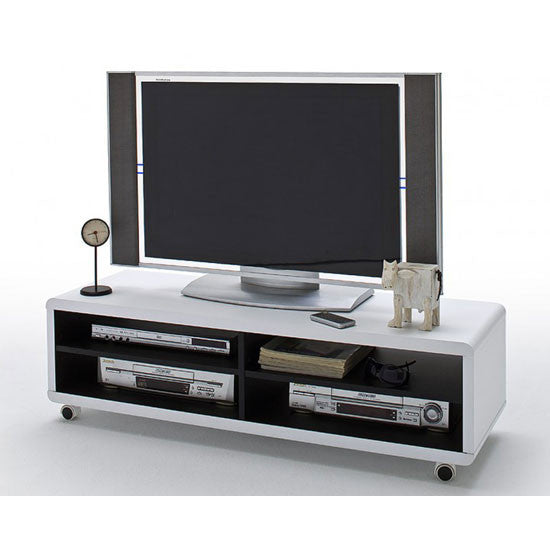 Lyon White & Black Lowboard LCD TV Stand With Wheels