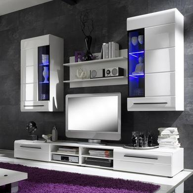 Invictus Wall Mounted TV Unit Living Room Set in White High Gloss and LED lights