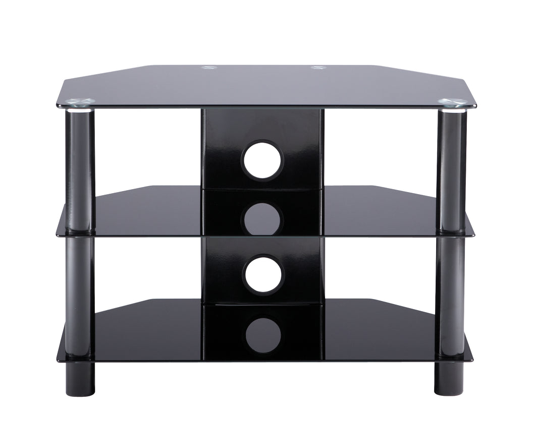 Medium size D-shaped curved design 3 Toughened glass shelf TV Stand