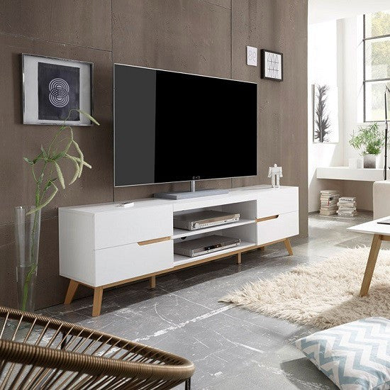 Budapest Lowboard TV Stand in Matt White And Oak