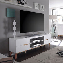 Budapest Lowboard TV Stand in Matt White And Oak-1