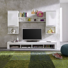 Monacco White Wall Mounted TV Unit Living Room Set with LED Lights 1