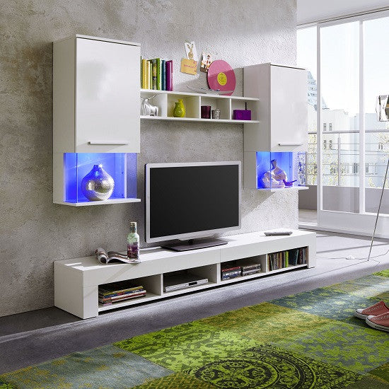Monacco White Wall Mounted TV Unit Living Room Set with LED Lights