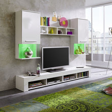 Monacco White Wall Mounted TV Unit Living Room Set with LED Lights 2