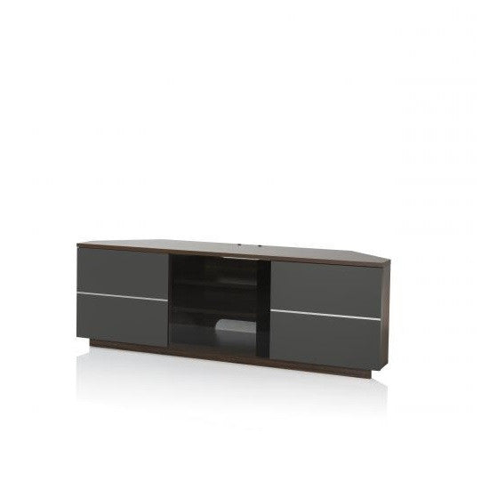 New York Walnut Finish Corner TV Stand With Glass Doors