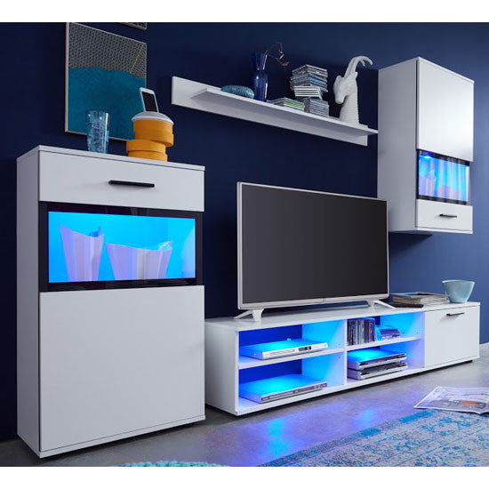 Eden Wall Mounted TV Unit Living Room Set in White with LED Lights