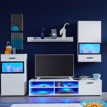 Eden Wall Mounted TV Unit Living Room Set in White with LED Lights 2