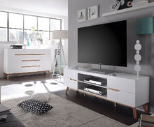 Budapest Lowboard TV Stand in Matt White And Oak-5
