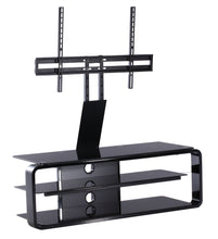 Round Frame Mounted Three Shelf TV Stand Black 1