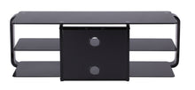 Round Frame Mounted Three Shelf TV Stand Black 2