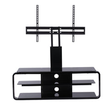 Round Frame Mounted Three Shelf TV Stand Black 4
