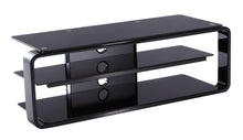 Round Frame Mounted Three Shelf TV Stand Black