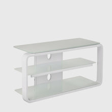 Round Frame Mounted Three Shelf TV Stand White 1