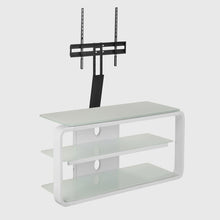 Round Frame Mounted Three Shelf TV Stand White 2