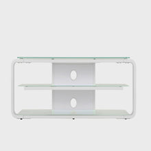 Round Frame Mounted Three Shelf TV Stand White 4