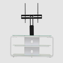 Round Frame Mounted Three Shelf TV Stand White 6
