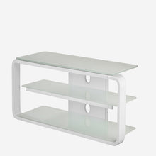 Round Frame Mounted Three Shelf TV Stand White