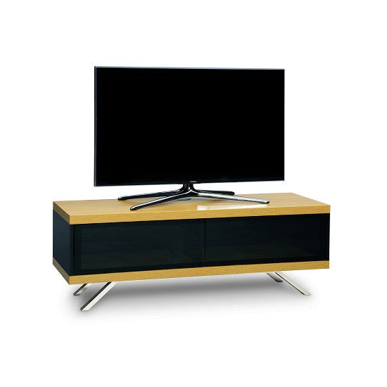 Madisson Cubic TV Stand in Black Gloss & Oak Finish & Glass Door